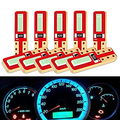 DuaBhoi 10×T5 LED Bulb 2721 73 74 17 Extremely Bright 7020 Chipsets for Car Lights Gauge Cluster Dashboard Instrument Panel Glove Box Indicators Light Lamp Ice Blue