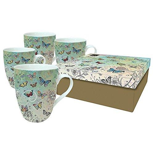 Bug Art Lot de 4 Tasses en Porcelaine Motif Papillons