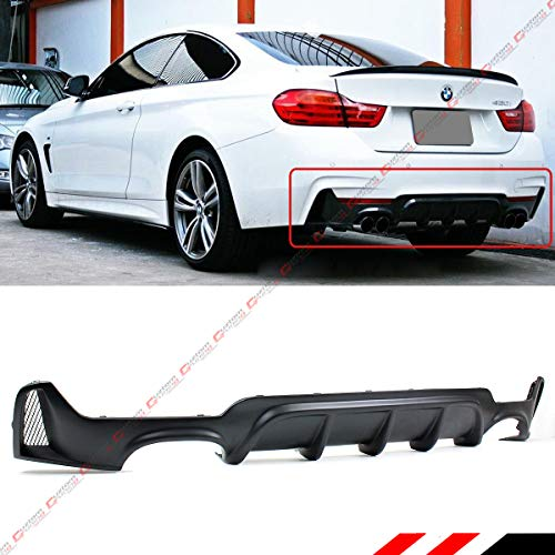 Fits for 2014-2019 BMW F32 F33 F36 4 Series M Sport Performance Style Rear Bumper Diffuser Quad Exhaust Tip Opening