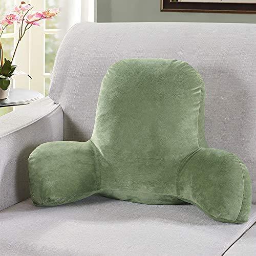 perfk Lesekissen Rückenkissen mit Armlehnen Rückenstütze Kissen Dreieckskissen für Bett Sofa Stuhl - Grün