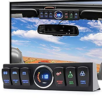 POVTOR 6 Rocker Switch Panel with Control System Wiring Harness Toggle Switch Apollointech Compatible with Wrangler JK JKU 2007-2018