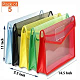 GreatDio® Envelope Folder,Transparent Poly-Plastic A4 Documents File Storage Bag with Snap Button Set
