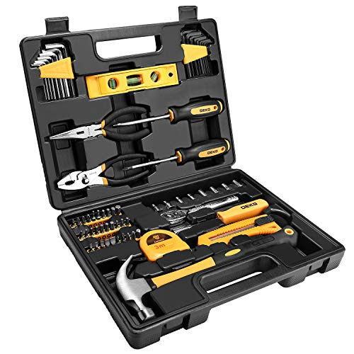 DEKOPRO 65 Pieces Tool Set General Household Hand Tool Kit with Plastic ToolBox Storage Case
