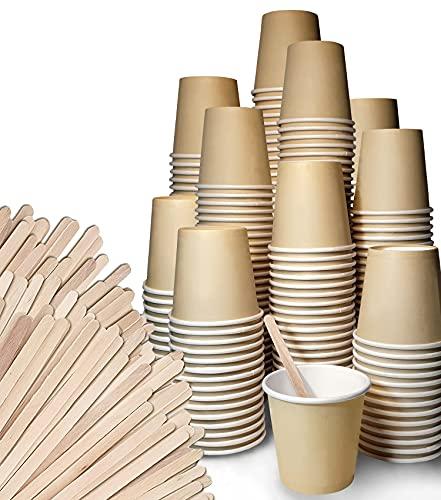 FMC SOLUTIONS Eco Kit Accessori da caffè e Tea - 200 Bicchierini Caffe in Carta, 200 Palettine in Legno