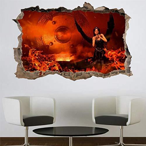 Mural de pared 3D con llamas de ángel oscuras, diseño gótico del infierno, para pared, creativo, extraíble, para dormitorio, sala de juegos, guardería, oficina, tienda
