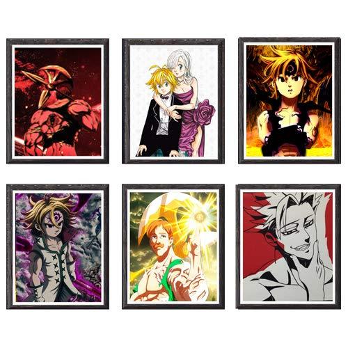 MS Fun Kimetsu no Yaiba Thunder Zenitsu Giyuu Tanjirou Demon Slayer Art Prints Wall Home Decor Canvas Print, 8 x 10 polegadas, sem moldura, conjunto de 6 peças 8 x 10 Inch Seven Deadly Sins Meliodas Ban Escanor