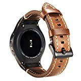 Valkit Compatible Gear S2 Bands, Genuine Leather Replacement Smart Watch Band with Stainless Steel Connector, Soft Bracelet Sport Wristband Strap Compatible Samsung Gear S2 (SM-R720/R730), Brown