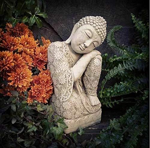Statue schlafender Buddha aus Stein   Vintage Orientalische Gartendekoration