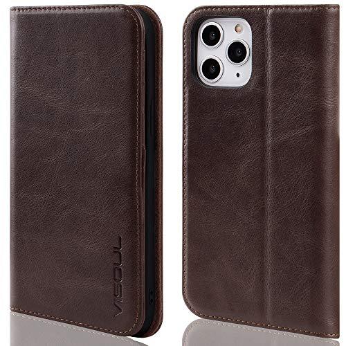 VISOUL iPhone 12/12 Pro Hülle, Handyhülle [100prozent Rindsleder] [RFID Schutz] [Schützt vor Stoß] [Standfunktion] [Kartenfach] [Magnet], TPU Handytasche Kompatibel für iPhone 12 Pro 6,1 Kaffee-A