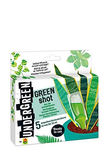 Undergreen by Compo Green Shot, Kur für Grünpflanzen und Palmen, Aufbaukur, 5 Ampullen je 30 ml, Transparent