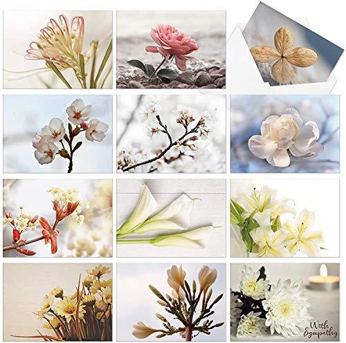 Deeplay 12 Pack Cartes de voeux fleuries, Cartes de notes fleuries Multipack vierge pour toutes les occasions, Merci fleuri, Anniversaire, Sympathie, Pensant à vous Cartes avec enveloppes