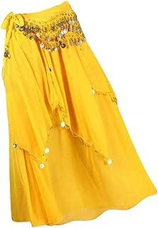 IPOTCH Damen Bauchtanz Kleider Orientalische Kostüme Performance Kleid Doppelschlitze Bauchtanzröcke Tanzrock mit Münzen Hüfttuch