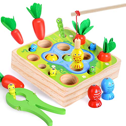 Wooden Toy for Toddler 1 2 3 Years Old - Montessori Toys for Boys Girls 3 in1 Preschool Kids Carrots Learning Magnetic Fishing Games,Baby Educational Sorting Grasp Sensory Developmental Birthday Gifts