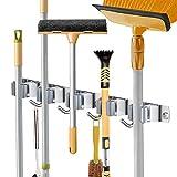 Besenhalterung Wand, Gerätehalter Edelstahl, Besenmopphalter, Wandhalterung, Werkzeugaufhänger, Organizer (5 Halter und 4 Haken)
