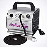 Airbrush Compressor 1/6HP with Regulator, Pressure Gauge, Braided Hose, Filter For Tattoo Nail