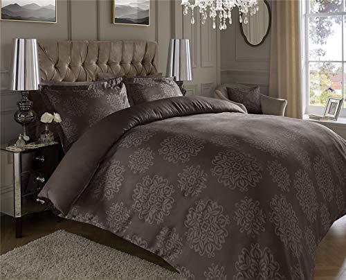 Juego de funda de edredón de 600 hilos, jacquard de algodón supersuave, rico, cálido y cómodo, color marrón ornamental