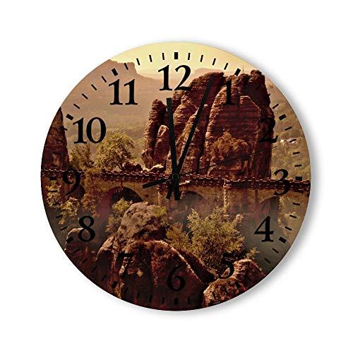 Promini - Reloj de pared de PVC silencioso sin tictac, diseño de elbe, montañas de arenisca, color 4, 30,5 cm