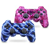 Vinklan PS3 Controller Wireless Double Shock Gamepad for Playstation 3, Six-Axis Wireless PS3 Controller with Charging Cable (Flash Blue & Starry Sky)