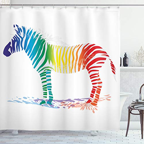 ABAKUHAUS Grappig Douchegordijn, Zebra kleuren van de regenboog, stoffen badkamerdecoratieset met haakjes, 175 x 240 cm, Veelkleurig