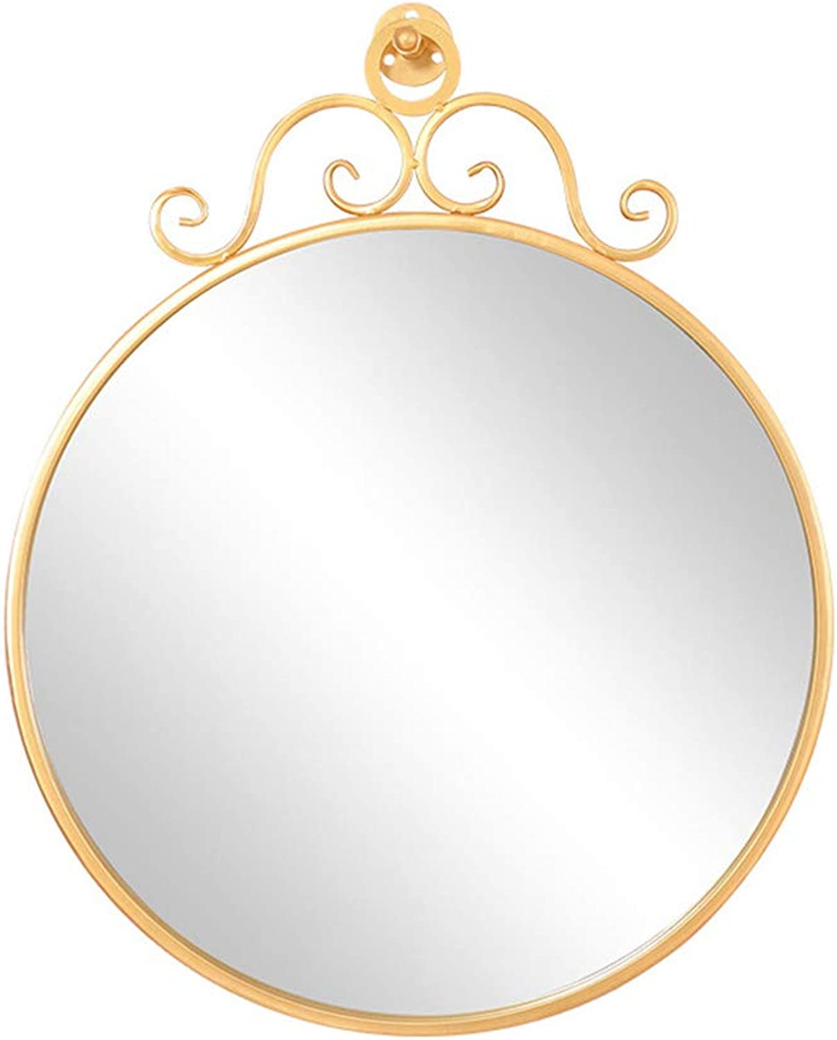 Bathroom Wall-Mounted Round Mirror gold Wrought Iron Frame, Bedroom Hotel Vanity Mirror Shaving Mirror, Diameter 16 20 24cm