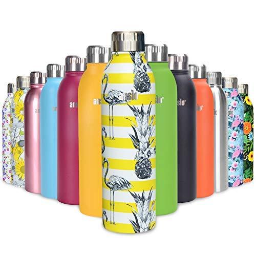 ANSIO Botella Agua Acero Inoxidable, Termo con Islamiento de Vacío de Doble Pared Libre BPA Caliente y fría Reutilizable Botella Agua para Niños, Colegio, Sport, Bicicleta - 500ML -Patrón Flemingo