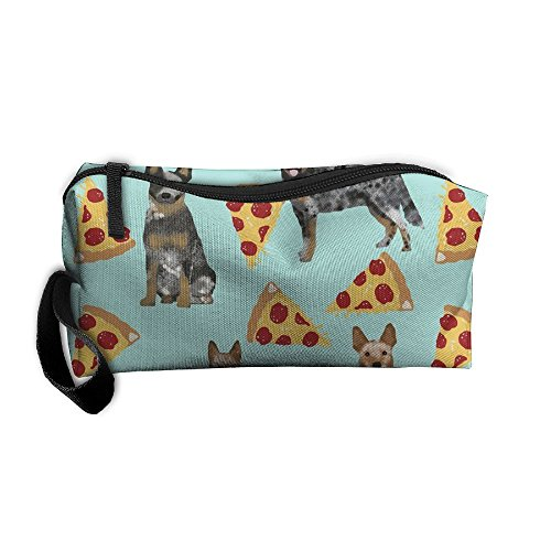 BCCHUUU Australian Cattle Dog Blue and Red Heelers and Pizzas Makeup Organizer Bag Shaving Kit Toiletry Bag for Travel Accessories, Shampoo, Cosmetic, Personal Items