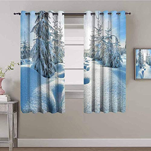 JNWVU Opacas Cortinas Dormitorio - Paisaje Nieve árboles Azul - Impresión 3D Aislantes de Frío y Calor 90% Opacas Cortinas - 150 x 166 cm - Salon Cocina Habitacion Niño Moderna Decorativa