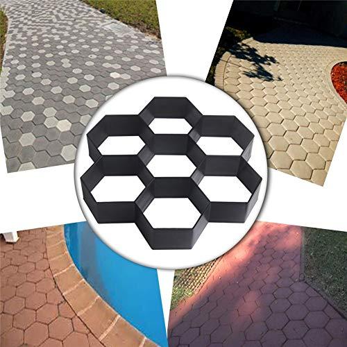 Moldes para concreto de jardín, adoquines, para moldes de bricolaje para moldes de plástico, moldes de adoquines de ladrillos de cemento, moldes para concreto Stone Road, herramienta 30 * 30 * 4CM