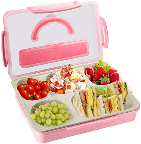 Kids Adults Bento Lunch Box Durable Leak Proof 5 Compartment Food Container BPA Free Portion product image