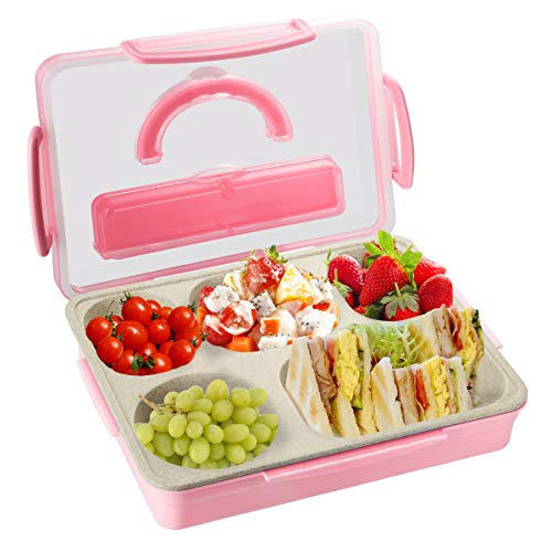 Kids Adults Bento Lunch Box Durable Leak Proof 5-Compartment Food Container BPA Free Portion Meal Prep Snack Packing Dishwasher Microwave Safe for Toddlers Child School Travelcampingpicnic-pink