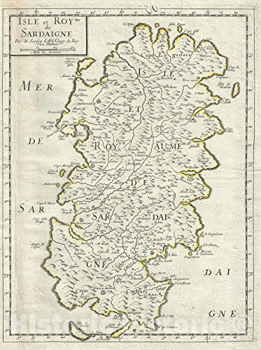 Historic Map : The Island of Sardinia, Italy, Sanson, 1658, Vintage Wall Décor : 24in x 30in