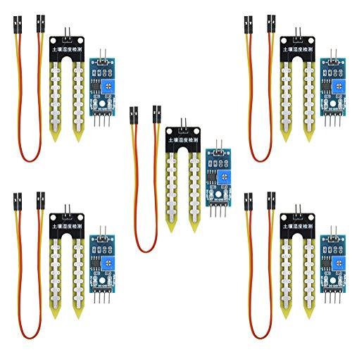 KeeYees 5 Stück Bodenfeuchtesensor Analoger Hygrometer Boden Feuchtigkeit Modul Kit für Arduino