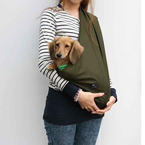 エブリデイ・コンパクトコットン・ドッグスリング2[飛出し防止フック付]MカーキDogPeace(ドッグピース)小型犬用子犬抱っこ紐ひもバックスリングバッグスリングペットPETキャリーキャリア