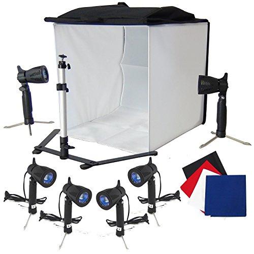 Lichtkubus Lichttent DynaSun Cubelight PB5XL 60x60x60cm Fotostudio Fototent met softbox statief 6x Fotolamp 4x achtergrond