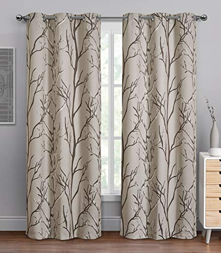 """VCNY Home Kingdom Collection   Printed Blackout Microfiber Curtain Panel With Grommets, Modern and Contemporary Style Window Dressing for Home Décor, 40"""" x 84"""", Brown/Taupe"""