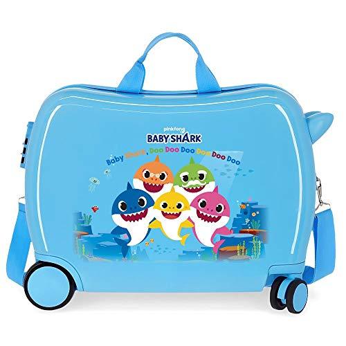 Baby Shark Shark Family Valigia per bambini Azzurro 50x38x20 cms Rigida ABS Chiusura a combinazione numerica 34L 2,1Kgs 4 Ruote Bagaglio a mano