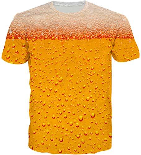 Loveternal Unisex Bier T-Shirt Realistische 3D-Muster gedruckt beiläufige Grafik Kurzarm Tops Tees XL