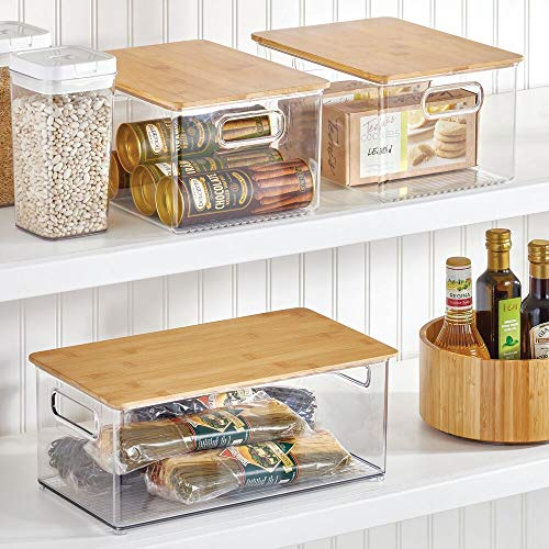 mDesign Plastic Stackable Kitchen Pantry Cabinet, Food Storage Bin Box with Handles, Lid - Organizer for Packets, Jars, Snacks, Pasta - 8 Pack - Clear/Bamboo Lid