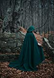 Green Forest Druid vegan wool cloak with hood