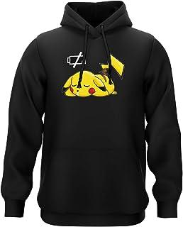 Okiwoki Sweat-Shirt à Capuche Noir Parodie Pokémon - Pikachu - Batterie à Plat !(Sweatshirt de qualité supérieure - impri...