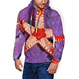 Starfish Fleece Hoodies Sweatshirt, Unisex Novelty 3D Printed Pullover Fleece Hooded Long-Sleeve Sweatshirt Black