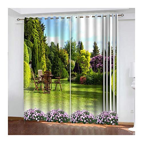 KnSam 2 Stücke Gardinen Aus Polyester 98% Licht Blockieren Verdunkelungsvorhang Garten Mit Ösen Ösenschal 214X274Cm Grün