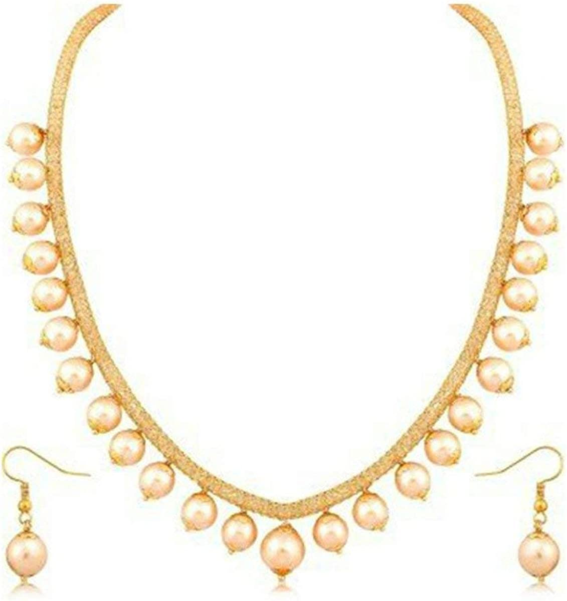 Crunchy Fashion Bollywood Style Traditional Indian Wedding Jewelry Curated Pearl Necklace with Earring Set for Women Girls