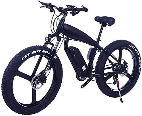 Ebikes, 26 pulgadas 21/24/27 Velocidad Bicicletas de montaña eléctrica con 4.0 'Bicicletas de nieve gorda Dual Disc Frenos Frenos Playa Cruiser Mens Deportes E-bicicletas (Color: 15Ah, Tamaño: Black-B