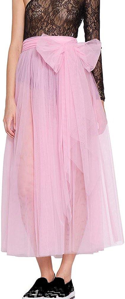 Lisong Women's Long Sheer Tulle Bowknot Tutu Skirt