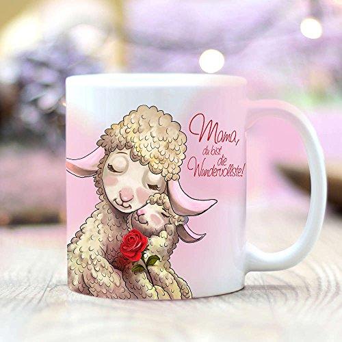 """Wandtattoo-Loft Bedruckte Kaffee Tasse """"Mama du bist die Wundervollste Schäfchen Mama mit Kind und Spruch/Matte Oberfläche"""