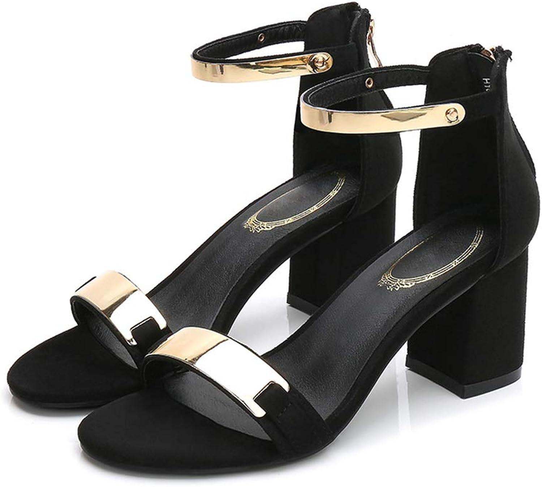 Women Summer Heels Red Black Buckle Ankle Strap High Block Heel Open Toe Party Sandals Women Pump