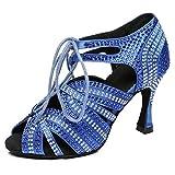 HROYL Zapatos de Baile Latino Mujer Bachata Tacon Alto Zapatos de Baile de Salon Salsa,L453,Azul-6,EU35