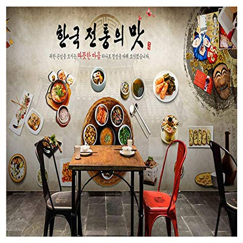 Pbbzl Wallpaper 3D Koreaanse keuken Restaurant Kimchi Hot Pot Restaurant Gebakken kip Winkel Behang Retro Dieet Voedsel Graffiti Mural 350 x 250 cm.