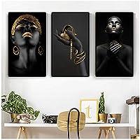 3パネルブラックハンドアフリカンヌード熟考者女性キャンバスに油絵ポスターとプリントリビングルームの壁アート写真60x80cm(24x32in)×3